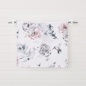 Heavenly Hummingbird Floral Blush Hand Towel