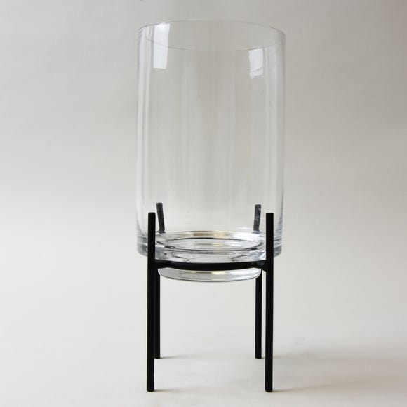 Clear Glass Hurricane Vase with Metal Stand Clear