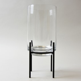Clear Glass Hurricane Vase with Metal Stand