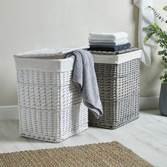 Versailles White Square Laundry Basket White undefined