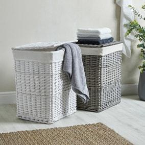 Versailles White Square Laundry Basket
