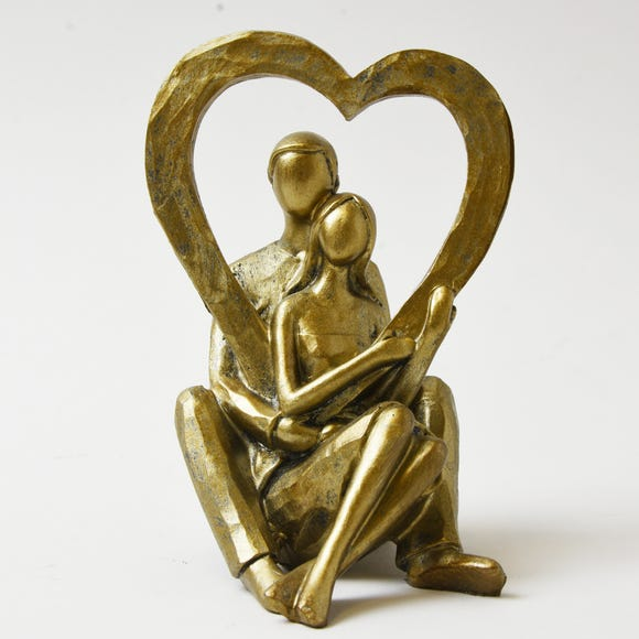 Bronze Couple Heart Sculpture Brown