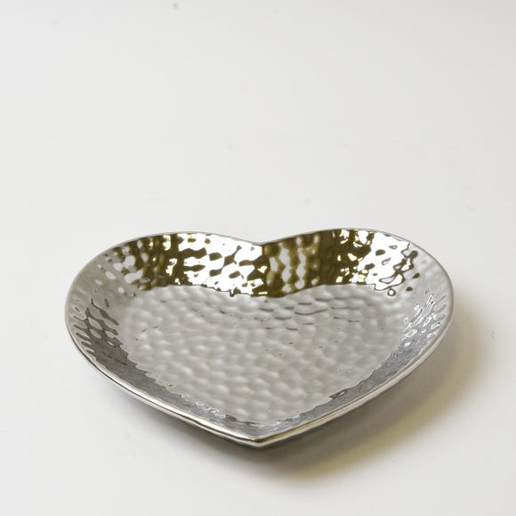 Silver Dimpled Heart Trinket Dish Silver