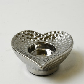 Silver Dimpled Heart Tealight Holder