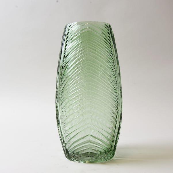 Tall Green Leaf Glass Vase Green