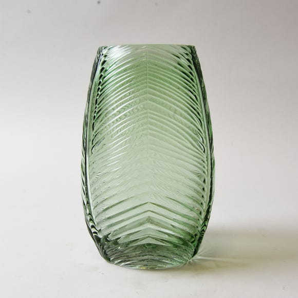 Small Green Leaf Glass Vase Green