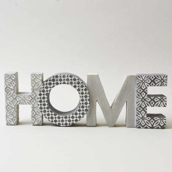 Geo Home Word Ornament Grey