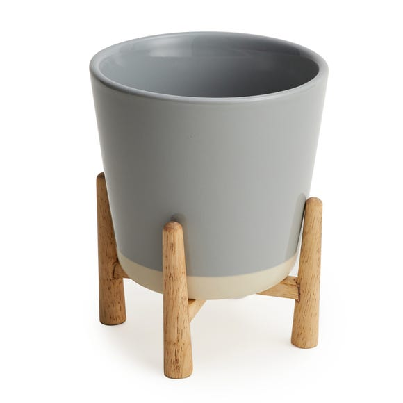 Grey Ceramic Planter and Wood Stand Grey