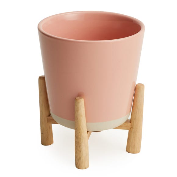Blush Pink Planter and Wood Stand Blush (Pink)