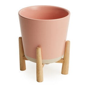 Blush Pink Planter and Wood Stand