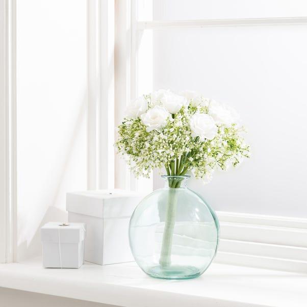 Artificial Rose and Gypsophila Cream Bouquet 32cm Green