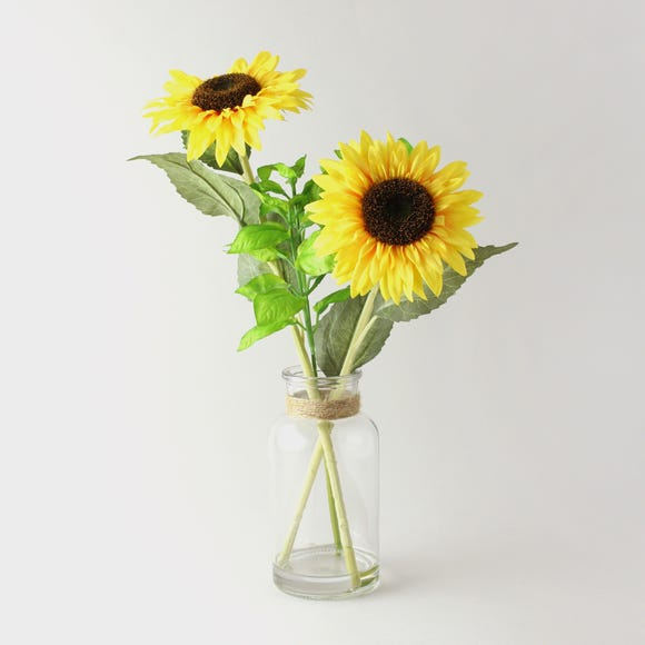 Artificial Sunflowers Yellow Clear Vase 40cm Yellow
