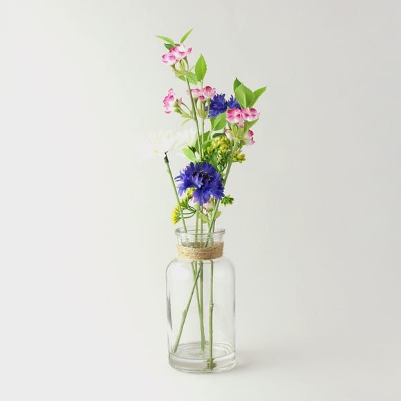Artificial Wildflowers Multi in Glass Vase 40cm MultiColoured