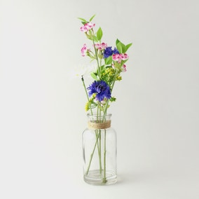 Artificial Wildflowers Multi in Glass Vase 40cm