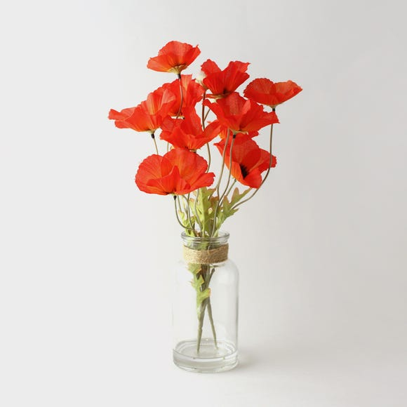 Artificial Poppies Orange in Glass Vase 40cm Orange