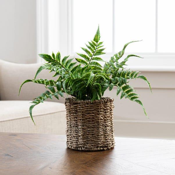 Artificial Fern Green in Rattan Pot 30cm Green