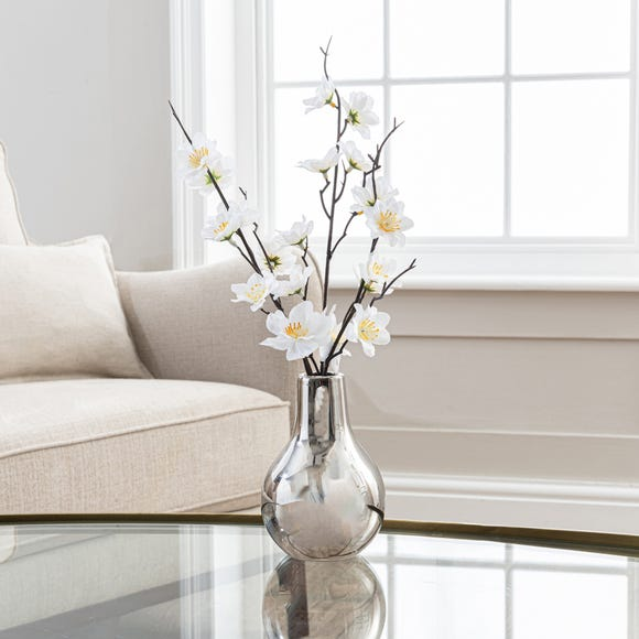 Artificial Blossom Cream in Silver Vase 37cm White