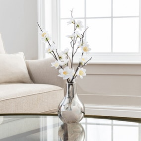 Artificial Blossom Cream in Silver Vase 37cm