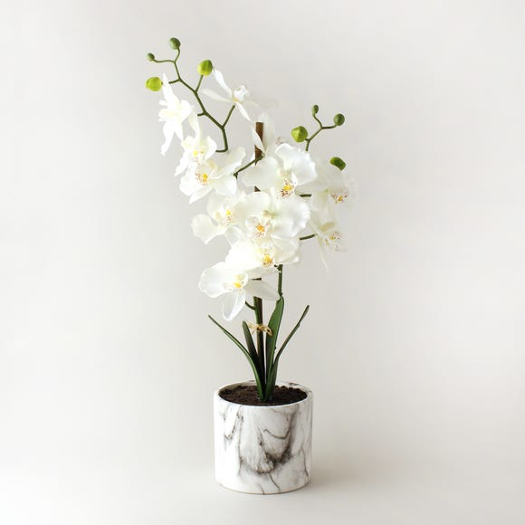 Artificial Orchid Cream in Marble Pot 56cm Natural
