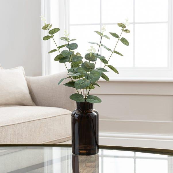 Artificial Eucalyptus in Black Vase 46cm Green