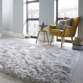 Faux Fur Grey Sheepskin Rug