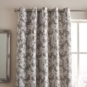 Ornate Scroll Jacquard Grey Eyelet Curtains