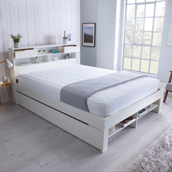 Fabio 1 Drawer Double Wooden Bed - White White undefined