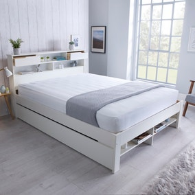 Fabio 2 Drawer Double Wooden Bed - White