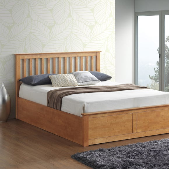 Malmo Oak Wooden Ottoman Bed  undefined