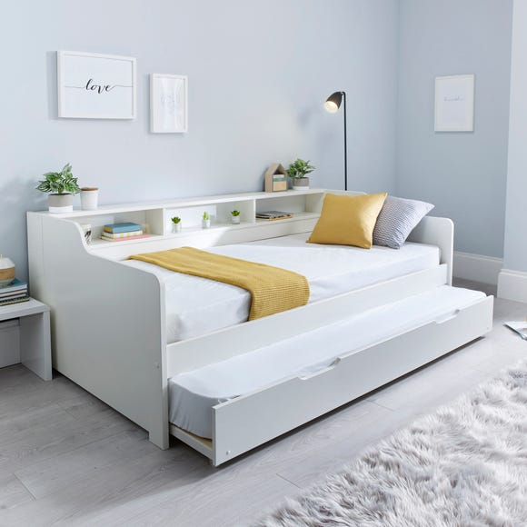 Tyler Single Guest Bed with Trundle and Memory Foam Mattress - White White undefined