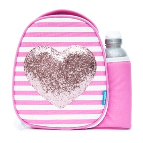 Smash Glitter Heart Lunch Bag and Water Bottle