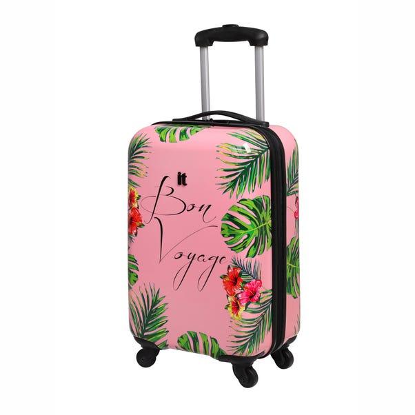 Bon Voyage Leaf Print 4 Wheel Cabin Case Pink undefined