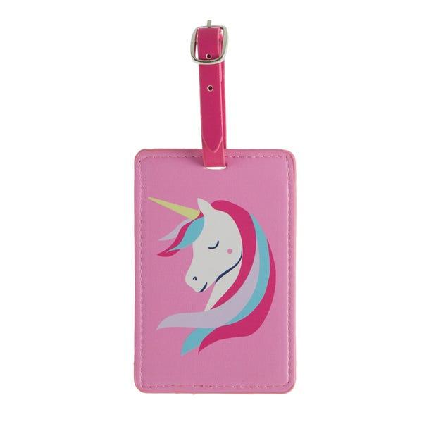 Unicorn Kids Luggage Tag Pink