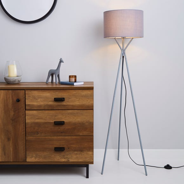 Drei Tripod Grey Floor Lamp Grey