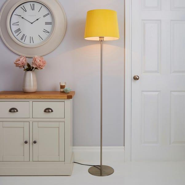 Tula Micro Pleat Ochre Shade Floor Lamp Ochre