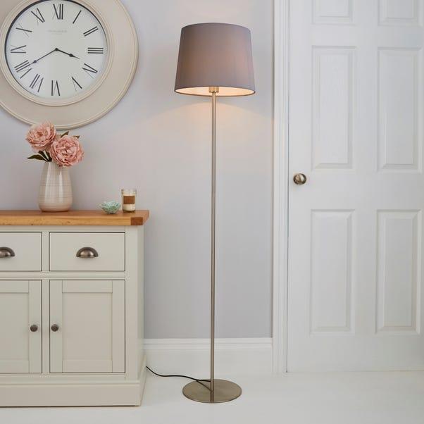 Tula Micro Pleat Grey Shade Floor Lamp Grey