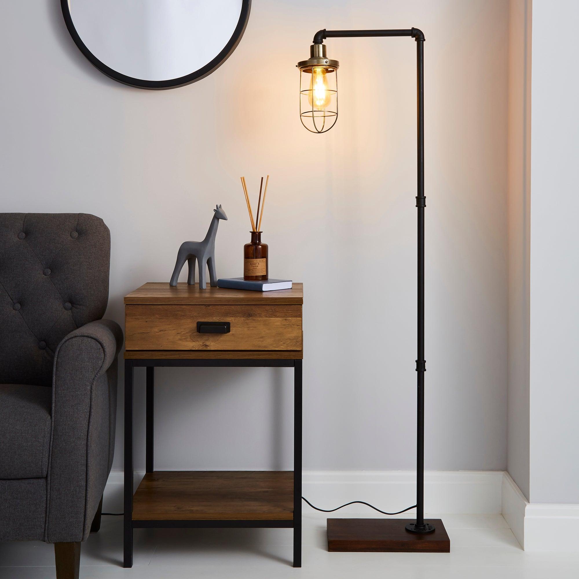 Milas Pipe Black Industrial Floor Lamp Black