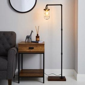 Milas Pipe Black Industrial Floor Lamp