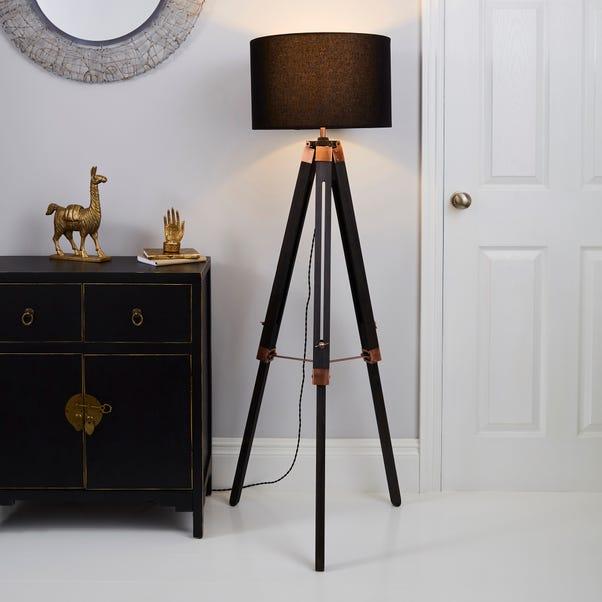 Trio Tripod Black and Copper Floor Lamp Black