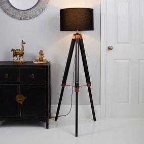 Trio Tripod Black and Copper Floor Lamp