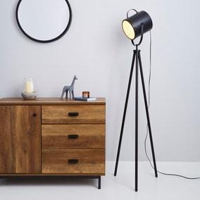 Carlton Camera Matt Black Floor Lamp