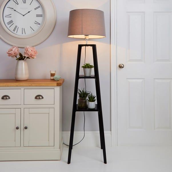 Beaumont Wood Tripod Plant Black Floor Lamp Black