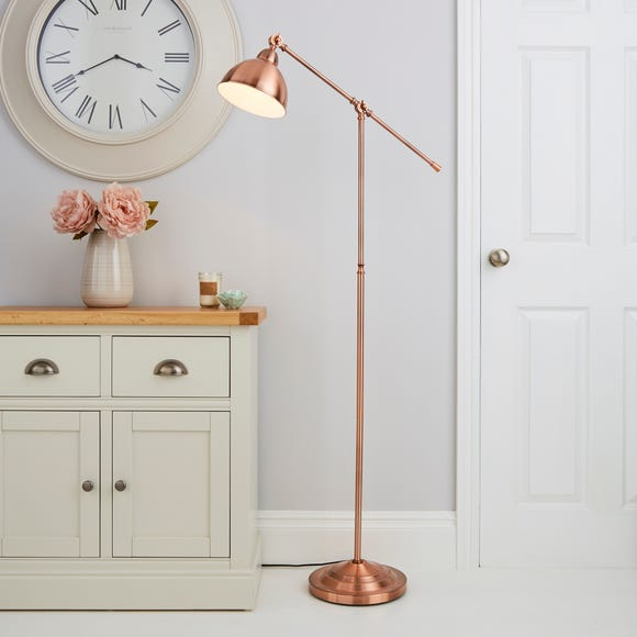 Lever Arm Copper Floor Lamp Copper