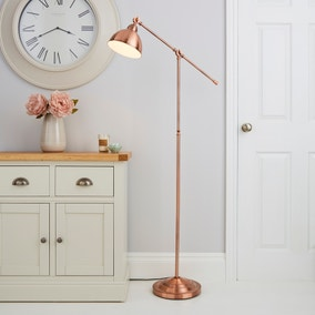 Lever Arm Copper Floor Lamp