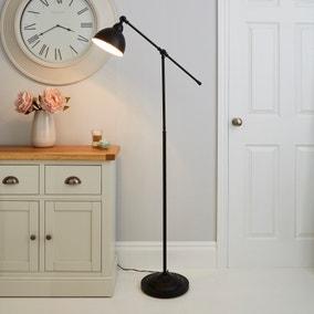 Lever Arm Black Floor Lamp
