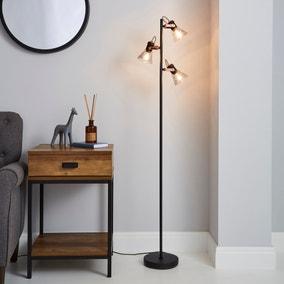 Milas 3 Light Black Industrial Floor Lamp