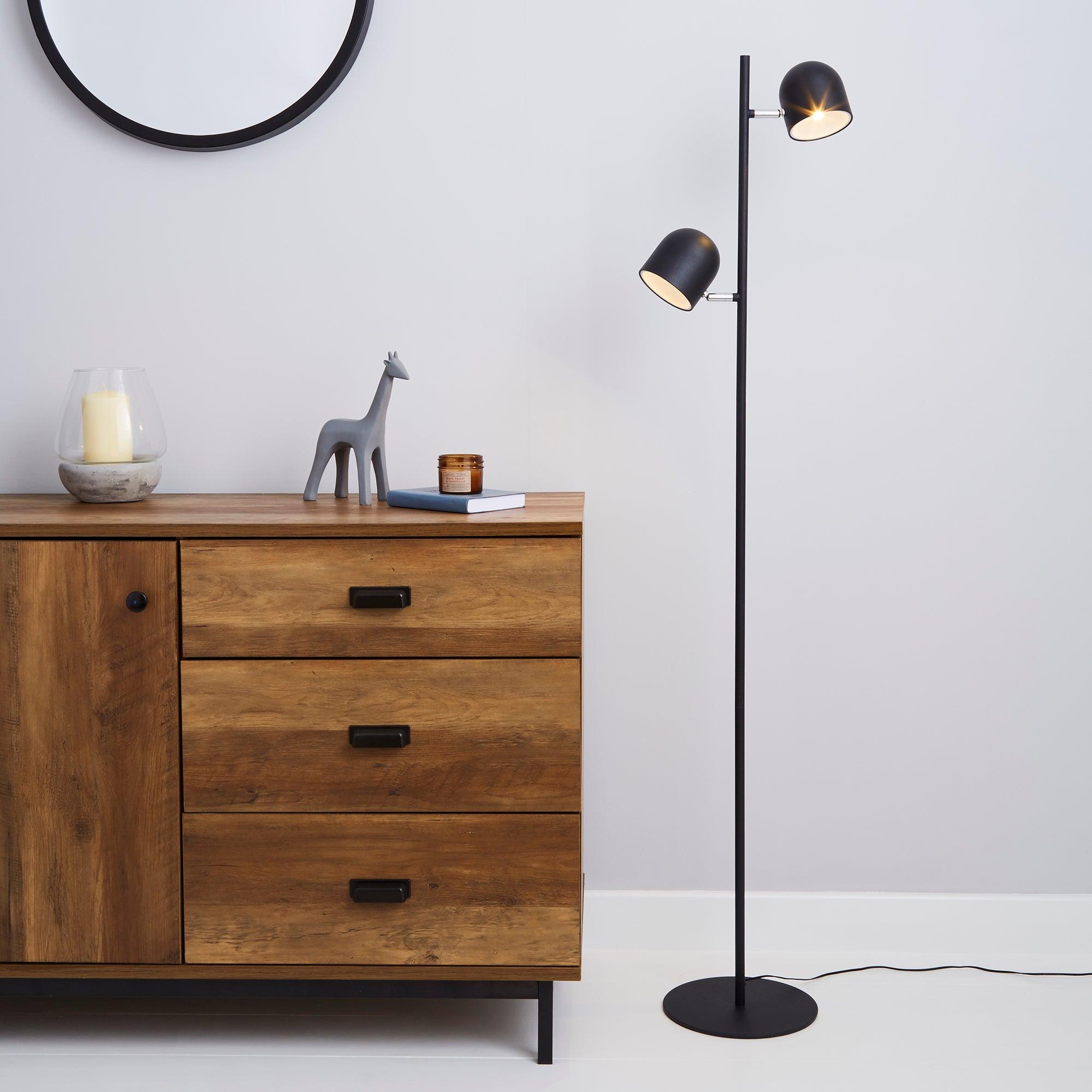 Harme 2 Light Black Touch Dimmable Floor Lamp Black