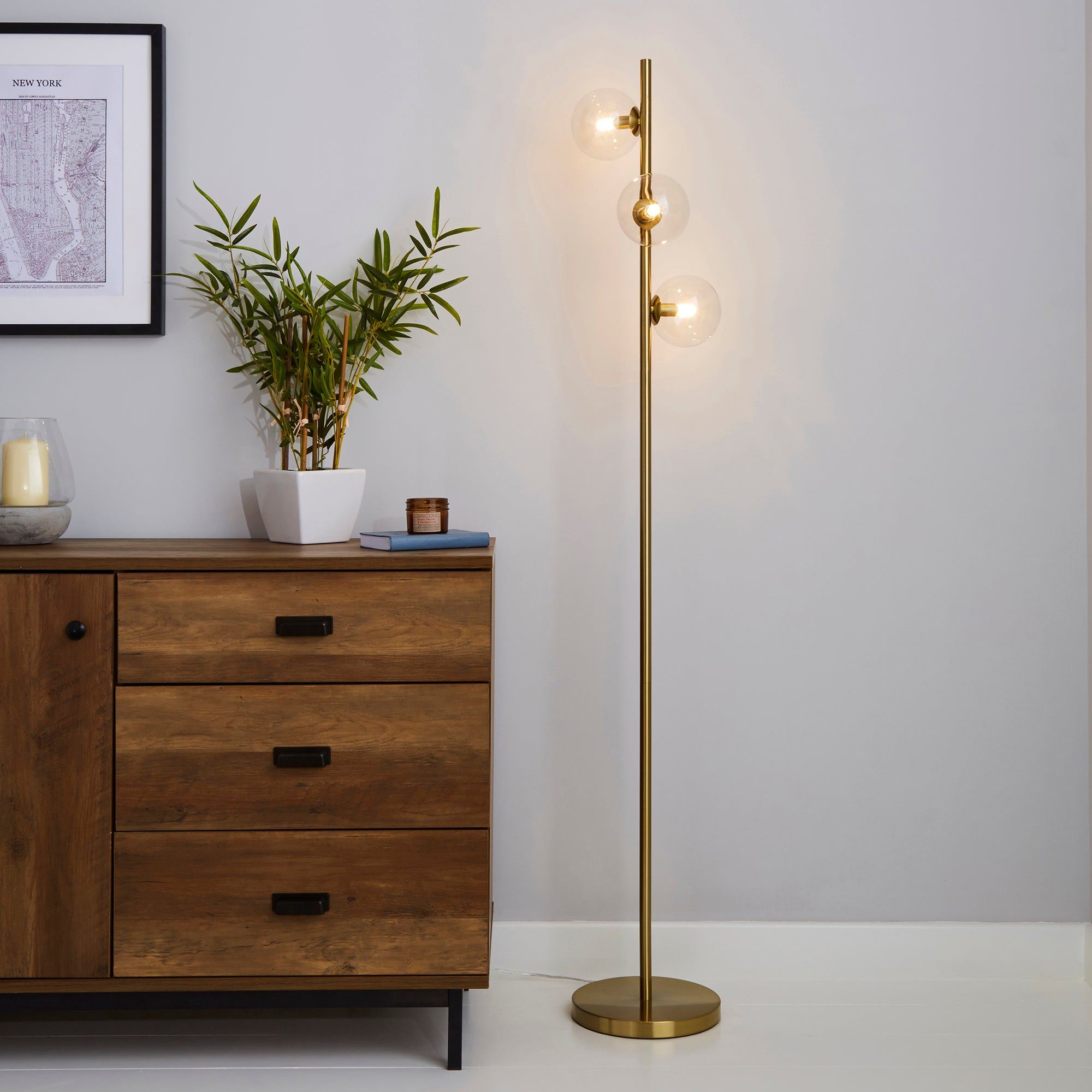 Nour Antique Brass and Glass Floor Lamp Gold