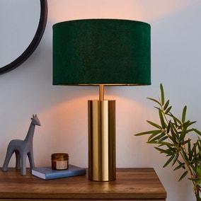 Nesa Velvet Touch Table Lamp Brushed Gold and Bottle Green