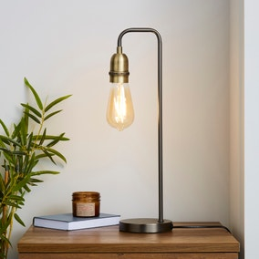 Marsden Nickel Industrial Table Lamp and Bulb